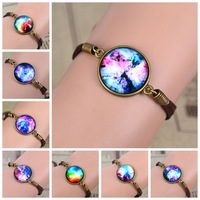 NEW Galaxy Bracelet Lovely Color galaxy, nebula, space,glass dome bracelet ,Bronze Tone suede leather Bracelet Bangle Best Gift