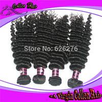 Free Shipping unprocessed virgin Brazilian hair weave 5A++ virgin deep curly hair 4pcs/lot mix length 8-28inch