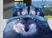 Personalized 3D oil painting blue wolf snow lake 100% activity of cotton print bedding set piece/Free shipping/B901