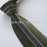 Yibei Coachella Mens Ties Olive With Silver Stripe Jacquard Woven Necktie Fashion Gravata Formal Neck tie For Men dress Party