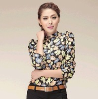2013 summer & autumn soft comfortable new arrival women's multicolour flower print long-sleeve chiffon shirts blouse women