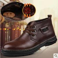 Free shipping 2014 New arrivals winter boots men flats ankle boots Men's genuine leather shoes Cotton plus velvet boots