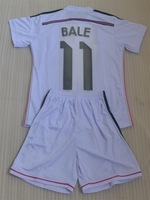 Thai Quality 14-15 Real Madrid kids home white RONALDO soccer jersey sets, children soccer uniforms BALE 11 PEPE 3 BENZEMA #9