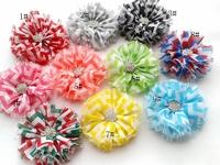 Chevron Chiffon Shabby Flowers with Starbeurst Botton 50pcs/lot AngelBaby