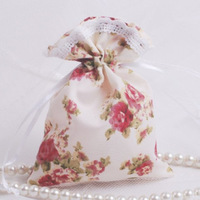 New! Free shipping Pastoral style fabric candy bags , wedding gift bags,200 pcs / lot White sweet bag ,JM-03