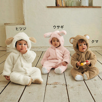 Free Shipping Winter Baby Clothing Infant Body Suits,Warm Kids Rompers,Children Animal Hooded Clothes For Boy And Girls
