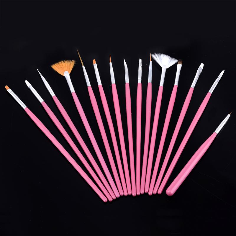Professional Pink 15 PCS Nails Art DIY Nail Painting Pen Nail Sets For Painting Kits Draw Drawing Tools(China (Mainland))