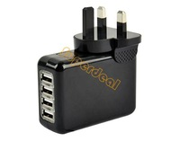 Home Travel 4 Ports USB Wall AC Power Charger Adapter For IPAD iPhone Samsung Amazon UK Plug 14767 F