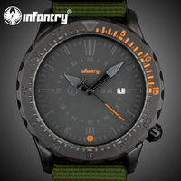 INFANTRY Outdoor US Army Men's Date Display Quartz Analog Sport Green Nylon Fabric Wrist Watch