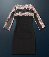 2014 new runway autumn& winter fashion vintage women Italy brand elegant patchwork print plus size one-piece dress S,M,L,XL,XXL