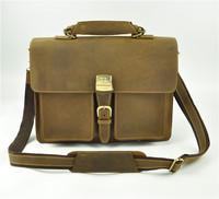 Cattle man bag fashion vintage crazy horse leather briefcase male commercial genuine leather handbag shoulder bag 1031