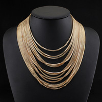 Multilayer gold chain necklace for women 2014 fashion jewelry wholesale choker statement necklaces & pendants free shipping