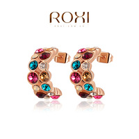 ROXI Free Shipping Genuine Austrian Crystals Rose Gold Colorful Earrings Best Gift For Girlfriend Pure Handmade 2020013360