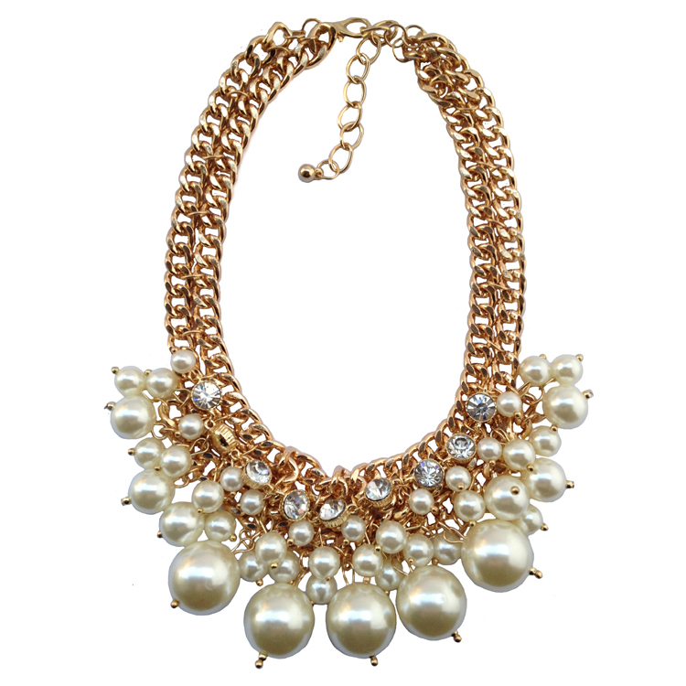 Beautiful luxury pearl bubble bib chunky chain necklace costume choker statement necklace 2014 women jewerly factory price(China (Mainland))