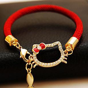 2015 New Fashion womens Chinese lucky red string charm bracelet hello kitty cat fish rhinestone bracelets jewelry items bracelet(China (Mainland))