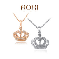 ROXI Christmas gift classic crown necklace rose gold plated 100%hand made fashion jewelry,2030007410