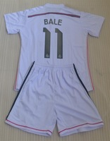 14-15 #11 BALE #1 IKER CASILLAS #3 PEPE home white kids boy child youth soccer jersey kits (jerseys + shorts) + can custom names