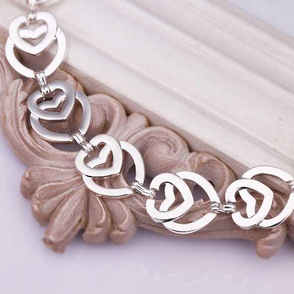 925 серебряные браслеты & Браслеты Мода ювелирные изделия стерлингового серебра, multi сердце ссылки браслет smth336