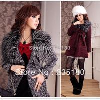 S-XXXL Elegant Fur Collar Single Breasted Woolen Coats Women Overcoat 2014 Autumn Winter Long Wool Outwear Black/Red 2109