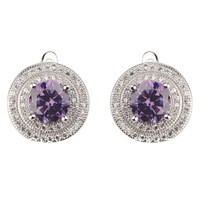 Amethyst Cubic Zirconia  Fashion classic Micro inlays jewelry 925 Silver  Earrings R3208