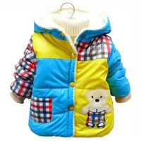 Baby Boys Padded Coats:2014 New Boys Winter Coat Spell Color Children Clothing Baby outerwear & coats, Cartoon Plaid Jacket