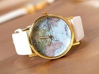 Earth Map Wholesale women wristwatches ladies fashion leather strap quartz watch Women dress watches FS126