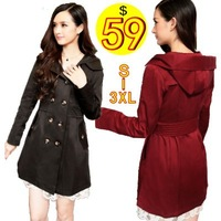 New 2013 Autumn-summer Fashion Long Cardigan Thick Hooded Trench Coat For Women, Trench Coat Winter, Supernova Sale Windbreaker