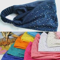 Wholesale 12pcs Assorted Color Rhinestones/Studs Headwrap Ladies Strechy Cotton Turband Headband/Hairbands Women Hairware