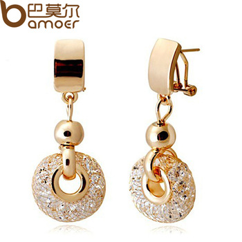 2014 New Arrival Luxury 18k Rose Gold Drop Earrings Champagne Wire Zircon Crystal Female Fashion Jewelry JSE019