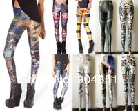 HOT! Women Triumph of Death Combat Hero RINGED IN GOLD RESURRECTION BLACK Leggings Galaxy Milk Digital Print Elasticity Pants
