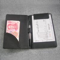Leather cashier clip bill folder file holder for hotel bar salon KTV restaurant black A067