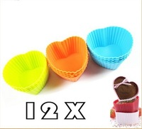 Free shipping,Hotsale 12pcs/lot Heart Shape Silicone Muffin Cake Cupcake Cup Cake Mould Case Bakeware Maker Mold Tray Baking