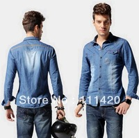 Fashion Men Denim Shirts Classic High Quality Casual Long Sleeve Shirt