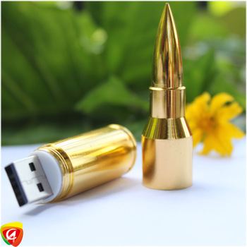 8GB 16GB 32GB Silver/Gold Metal Bullet Shape Genuine 64g USB 2.0 Flash Pen Drive ...