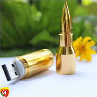 New  8GB 16GB 32GB Silver/Gold Metal Bullet Shape Genuine 64g USB 2.0 Flash Pen Drive Disk Memory Sticks  Freeship