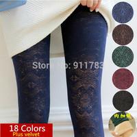 18 Colors 2014 New Autumn-Winter Women's 100% Velvet Pantyhose High Quality Vintage Cutout Basic Pantyhose Women Tights