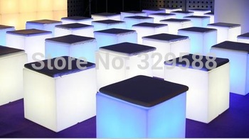 16inch led cube chair with cushion, cube with open,led furniture,RGB, 16color changing, bar stools,free shipping