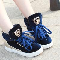 2013New Fashion Joker Leopard Skull Brand Sneaker for Women Height increase Sneaker for Women flats heel High Top Black Blue Red
