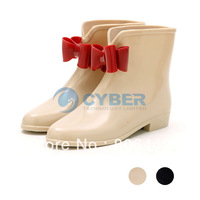 2013 New Women's Short Bow Bowknot Rain Boots Rubber Flat Heel Ankle Rainboots Fashion Galoshes Rainshoes 5 Sizes 15646