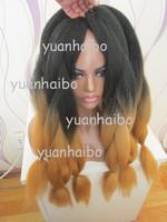 Stocks! alibaba wholesale price hot ombre black&brown 100 kanekalon jumbo braid, full head wearing, Fee Shipping