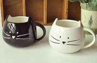 Free shipping 1 pair new arrival zakka cute cat ceramic coffee mug cups, black& white, couple mugs