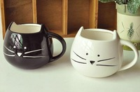 Free shipping new arrival zakka cute cat ceramic coffee mug cups, black& white, couple mugs