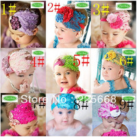 10pcs/lot New Style Beautiful Feather Headband hairband Baby Girls flowers headbands,kids' hair accessories Baby Christmas gift