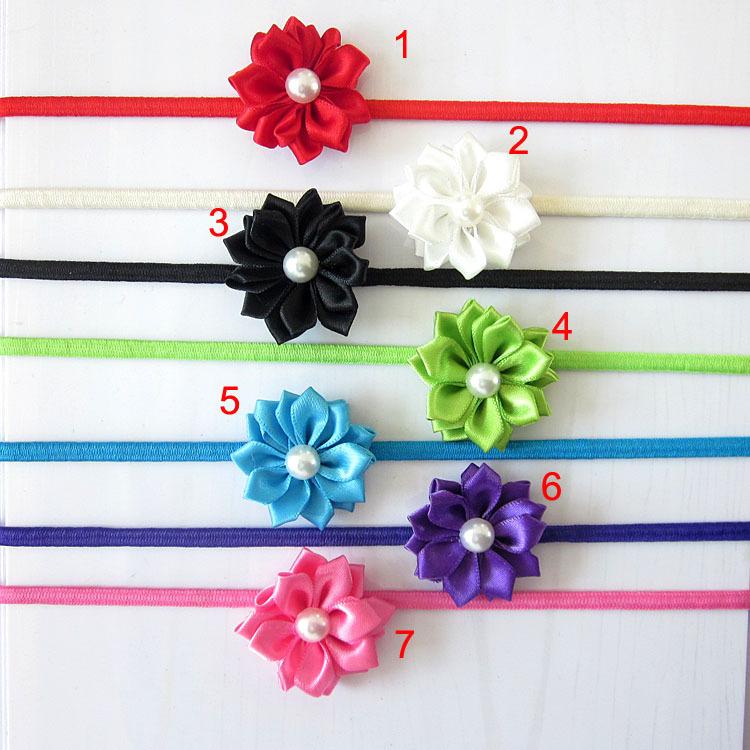 Hot spot wholesale 3.5CM double pearl headdress flower children with thin elastic headband ribbon(China (Mainland))