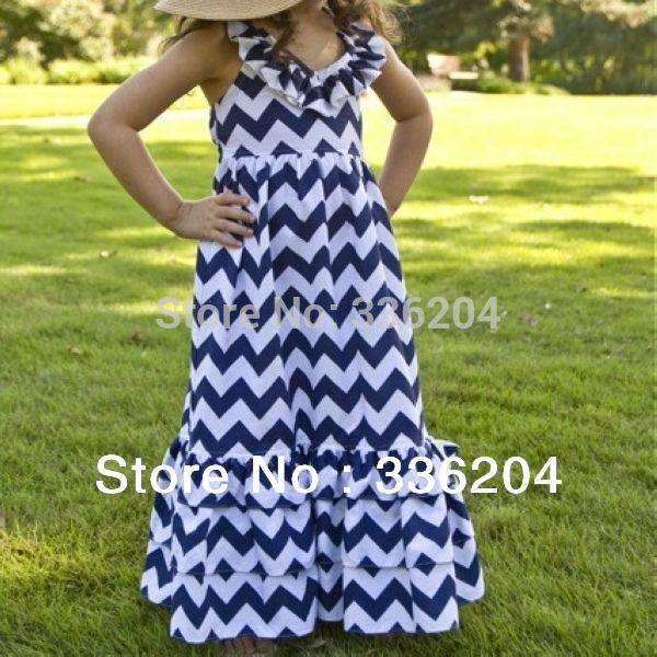 children girl princess long maxi dresses,adorable cotton chevron pattern dress for summer kids