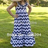 children girl princess long maxi dresses,adorable cotton chevron pattern dress for summer kids girl 2014