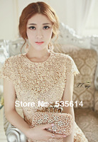 Fashion Handmade Crochet Hook flower One Piece Dresses Hollow out Flower Pearl Rhinestone Decorate Dress Top quality Best Gift