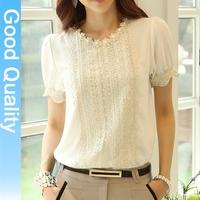 S-XXL 2014 new autumn -summer women's chiffon shirt, long sleeve lace blouse Slim lace top chiffon blouse fall 2014 plus size