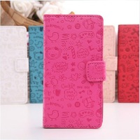 1pcs, 5color,Cute Magic Girl Flip magnet Credit card leather case cover For Samsung Galaxy Ace Duos S6802 ,Free shipping