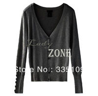 Fashion Womens Ladies Long Sleeve Shell Button V Neck Casual Jumper Knitwear Cardigan Sweater Tops Coat 4 colors 16273